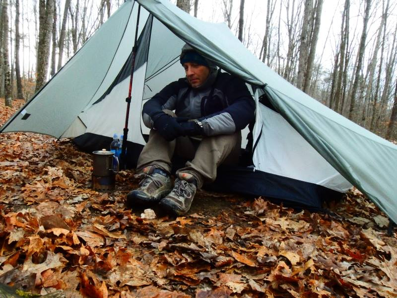 ... friends could see how tough it is surviving in the wilderness and stuff. Plenty of room for the stove-not so much for your legs if sitting like that ... & TT Notch owners: tips for rainy weather? - Backpacking Light