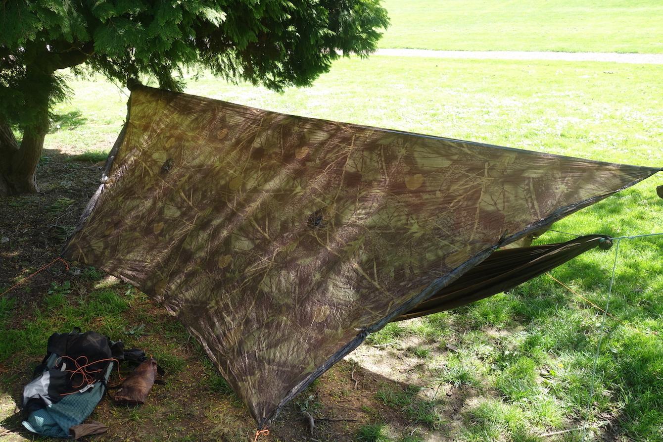 sold sold  hammock gear standard cuben fiber tarp with doors camo      rh   backpackinglight
