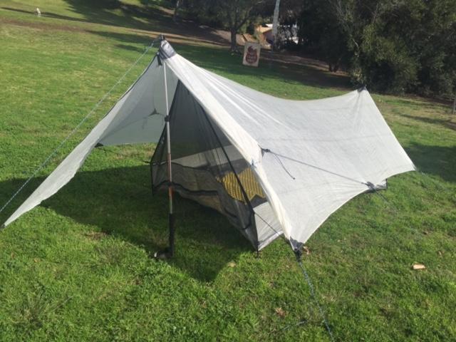 Tarp inner tent beak u2013 guy lines attached and CF stuff sack & FS HMG Echo II $349 - Backpacking Light