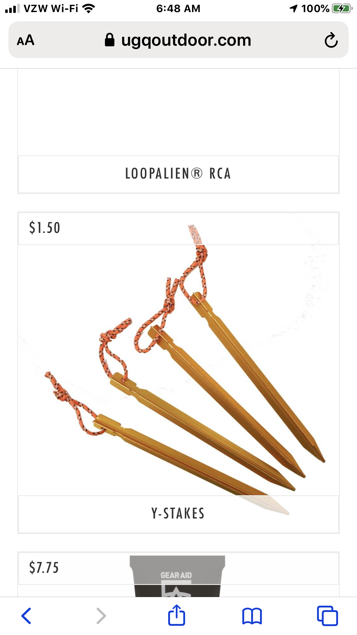 Tent stake with loops