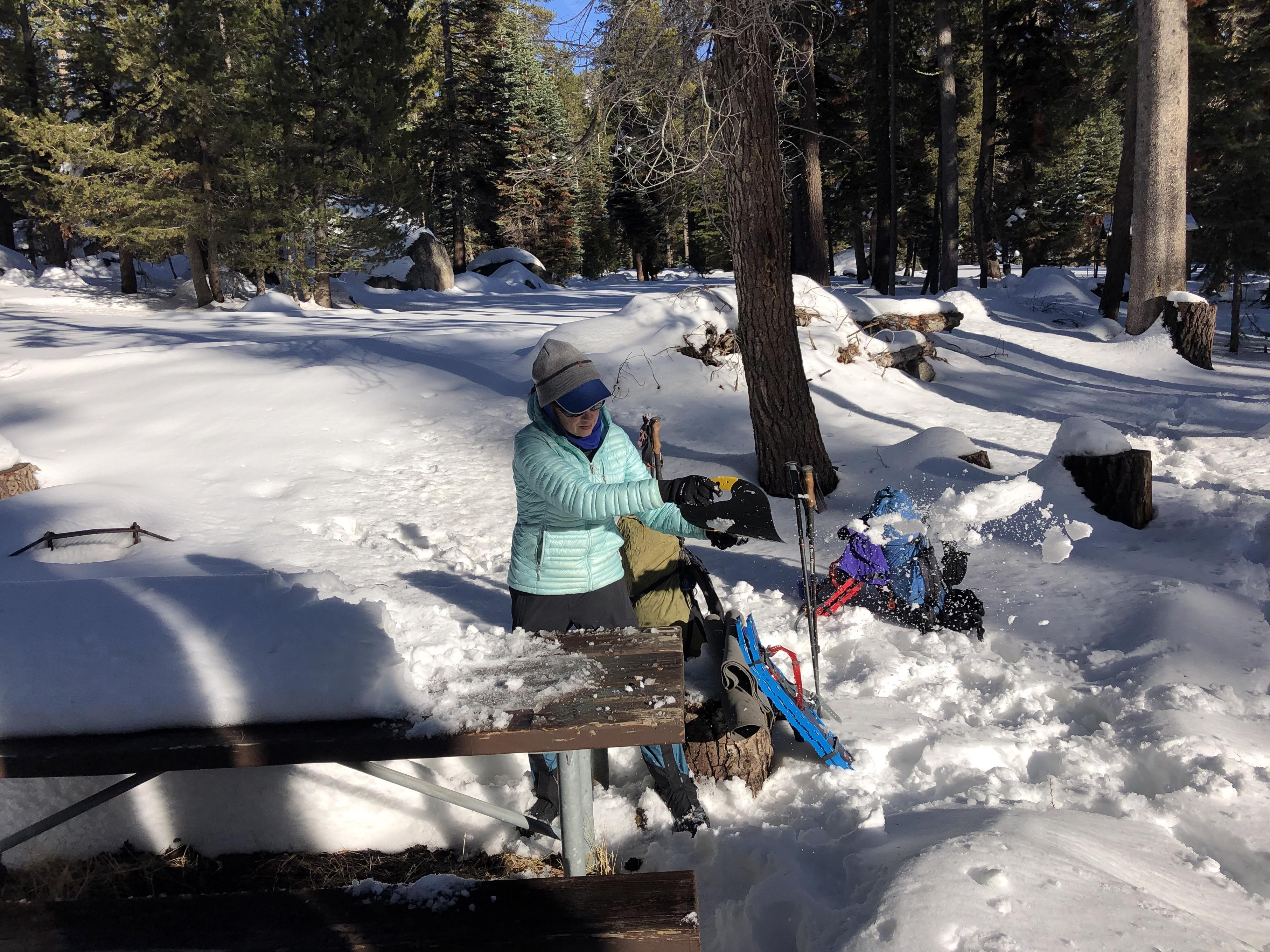 Gela cleans snow from the picnic table